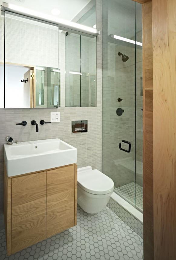 E Village Studio modern bath 582x862 Super {small} stylish living in NY