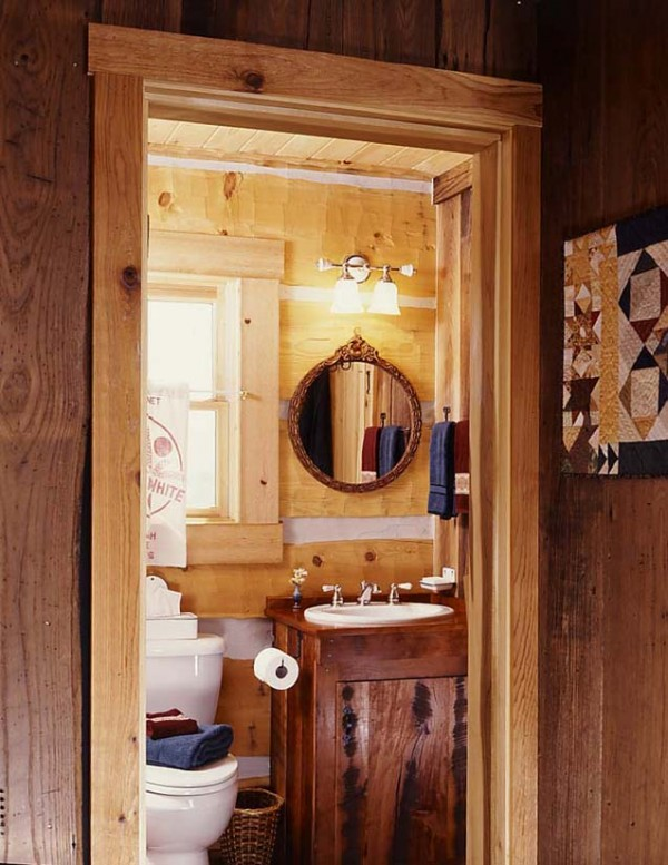 8 tiny cabin bathroom e1290575635251  Cozy Winter Cabin