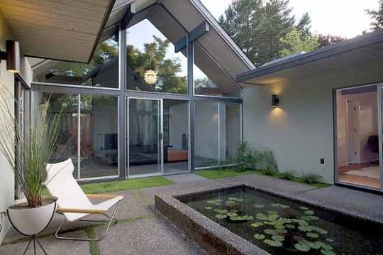 High Glass Courtyard of Double Gable House by Bob Rummer e1306531319585 Rejuvenation and Rummer