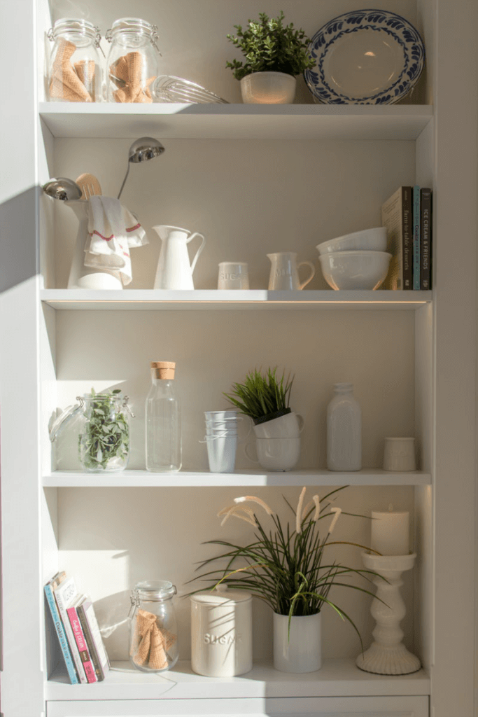 Open shelving lets you store more in small spaces