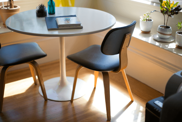 Round table is better in a small space