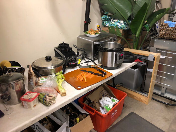Food prep in the garage during remodel